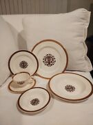 40 Pieces For 6 Taylor Smith Taylor Classic Heirloom 22 Kt Embossed Dinner Set