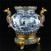 19.8and039and039 China Antique Censer Blue And White Porcelain Incense Burner Old Pottery