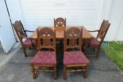 Heavy Carved Jacobean Dining Set Refractory Table And 5 Chairs 1621