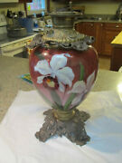 Vintage Gwtw Lamp Fp Co 17 H Hand Paint Lamp Base W Reservoir,and Top Globe Plate