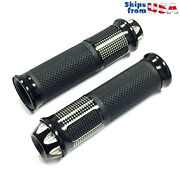 Motorcycle Scooter Grips 7/8 22 Mm Aluminum Anti Vibration Soft Rubber - Black