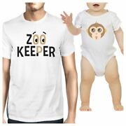 Zoo Keeper Monkey Dad And Baby Matching White Shirts