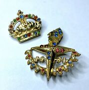 2 Collectable Vintage Pins Brooch Rare 1951 Festival Of Britain And Gold Crown Uk