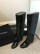 Bnib Authentic Black Patent Leather Boots Block Heel Size 40 Rrp Andpound1400