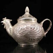 Collectible Handmade Statue Chicken Copper Silver Teapot Exquisite Inlay