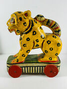 Vintage Composition Folk Art Leopard Pull Toy Hand Painted Nice