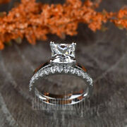 925 Sterling Silver Princess Colorless 1.4 Ct Moissanite Wedding Bridle Ring Set