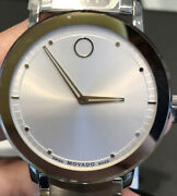New Movado Sapphire 40mm Silver Dial Stainless Steel Menand039s Watch 0606881