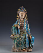 22.4and039and039 China Antique Statue Five-colored Porcelain Kwan-yin Statue Old Pottery