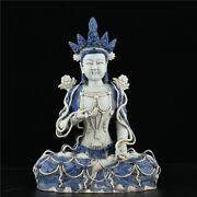 16.8and039and039 China Antique Statue Blue And White Porcelain Kwan-yin Statue Old Pottery