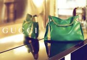 1970 Green Leather Bag, In Very Good Condition