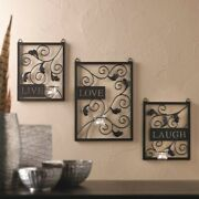Decorative Sign Live Laugh Love Candle Holder Sconce Set Hanging Wall Art