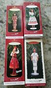 Hallmark Complete Set Of 4 Barbie Dolls Of The World Used Christmas Ornaments