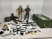 Vintage Hasbro And Lanard Toys Gi Joe Action Figures With Carry Case And Weapons