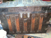 Antique 1870and039s Victorian Dome Top Chest Steamer Trunk With Tray Local Pickup Nj