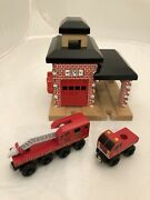 Thomas And Friends Wooden Railway Sodor Fire Dept. No. 36 With 2 Fire Trucks