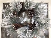 24 Inch Pinecone Wreath With Frosted Pine Cones And White Berries Holiday Decor