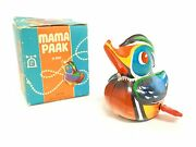 Vintage Lehmann Mama Paak Duck Tin Litho Wind Up Toy Made In West Germany