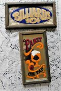 Pair Of Vintage Wallace Berrie Painted Mirror Signs W Wood Frame Pabst Blue Ribb