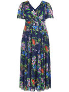 Scarlett And Jo Maxi Dress Plus Size 16 Blue Floral Short Float Sleeve Occasion