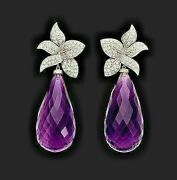 2.25 Ct Natural Round Diamond Amethyst 14k Solid Yellow Gold Wedding Earring