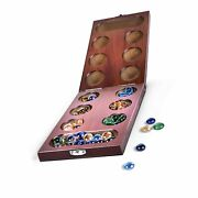 Rnk Gaming Mancala Wooden Folding Set With Colorful Glass Beads