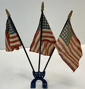 Rare Car American Flag Shield Holder Radiator 1920andrsquos 1930and039s Accessory 48 Star