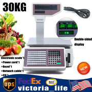 Electronic Weight Scale Digital Price Computing Scale Thermal Label Printer 30kg