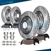 Front Rear Drilled Brake Rotors + Brake Pads For Toyota Tundra Sequoia Lx570