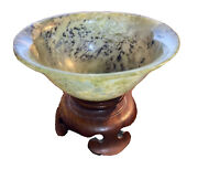 Finely Carved Translucent Spinach Jade Jadeite Antique Chinese Footed Bowl Stand