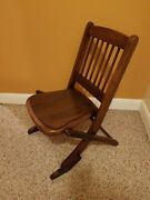 Childand039s Chair Folding Solid Oak Antique Spindled Toddler Dolls Wood Collectible