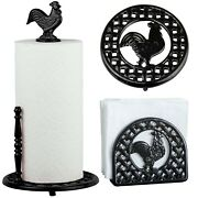 Cast Iron Paper Towel And Napkin Holders Rooster Black Red Trivet 1 Pc And Bundles