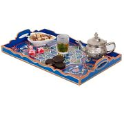 Hand Painted Decorative Tray, Moroccan Rustic Wood Blue Tray, Serving Tray Wood