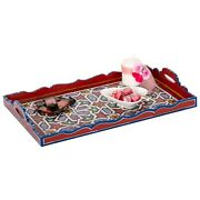 Hand Painted Decorative Tray, Moroccan Rustic Wood Red Tray, Serving Tray Wood