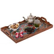 Hand Painted Decorative Tray, Moroccan Rustic Wood Vintage Tray, Serving Tray