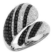 Large 1.83ct White And Black Diamond 14kt White Gold 3d Multi Row Criss Cross Ring