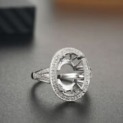 Ladies Antique Semi Mount Ring Si-si3 Diamonds Solid 18k White Gold Oval 15x10mm