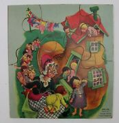 1953 Sifo Co Old Woman Who Lived In A Shoe Nursery Rhyme Wooden Puzzle