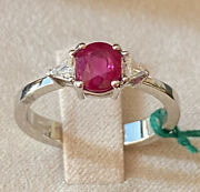 Gold Ring 18kt. With Natural Diamonds And Ruby Burmese Natural Ct. 119