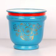 Vintage Iron Enamel Pot With Flower Painting Useful And Collectible 1849