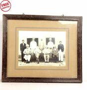 Old Vintage Group Of Men Wooden B And W Print Photograph Framed Collectible 6150