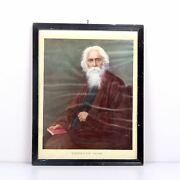Vintage Photograph Rabindranath Tagore Wooden Framed Colored Collectible 3323