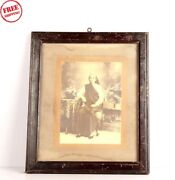 Old Vintage Wooden Framed Pretty Women B And W Print Photograph Collectible 5976