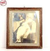 Old Vintage Maharaj Holy Men Framed Black And White Photograph Collectible 6096