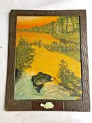 Vintage Miller Brewing Co Sign Trout Fish Lure Artist Signed C New 3d Relief Ptr