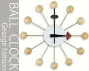 George Nelson Design Wall Clock - Ball Clock - Natural Reproduct