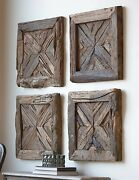 Four Farmhouse Reclaimed Rustic Pine Wood Wall Panels Shutter Style Wall Art