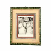 Antique Glass Photograph Wooden Framed Old Couple Beautiful Original Collectible
