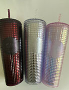Starbucks Grid Disco Christmas 2020 Holiday Cups Plum Berry Pink And Silver