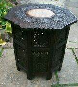 Large Antique Octagonal Folding Anglo/ Indian Inlaid Side Table